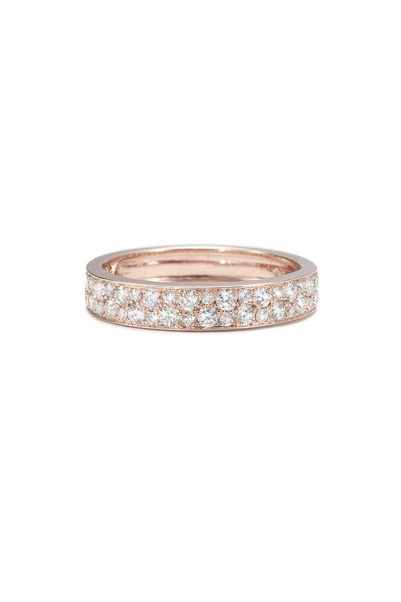 Nam Cho 18K Pink Rose Half Pavè Ring