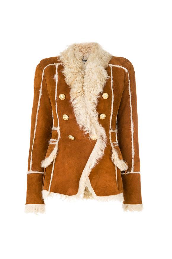 Balmain Luggage Brown Shearling Jacket