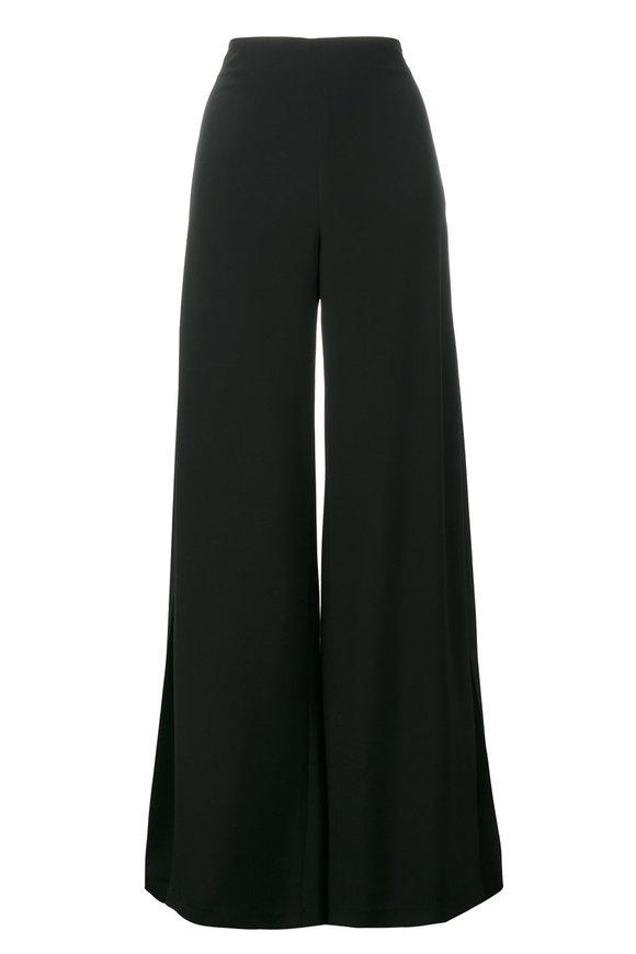 Adam Lippes Black Wide Leg Side Pleat Silk Pant