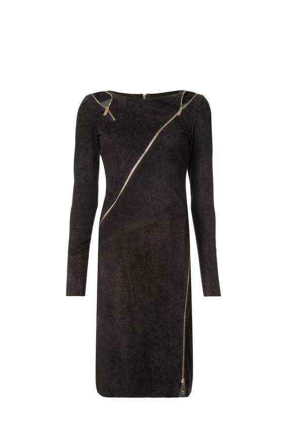 Jitrois Zipi Carbon Stretch Suede Long Sleeve Dress
