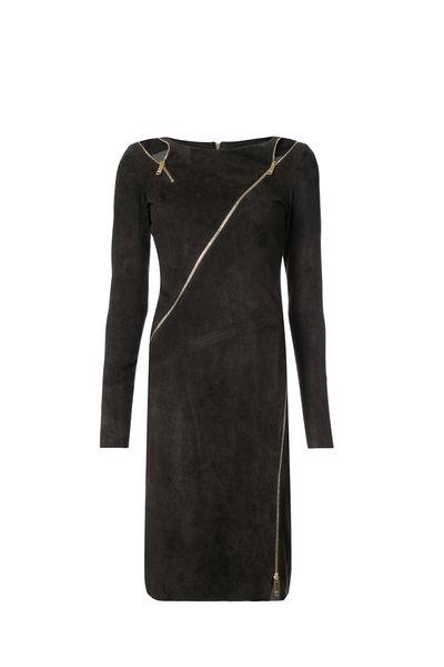 Jitrois - Zipi Carbon Stretch Suede Long Sleeve Dress