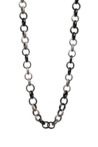 Loren Jewels - Sterling Silver Pavé Onyx Link Necklace
