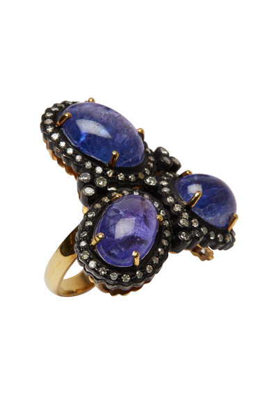 Loren Jewels - Gold & Silver Tanzanite Diamond Cocktail Ring