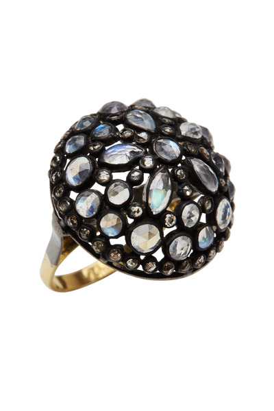 Loren Jewels - Gold & Silver Moonstone Diamond Ring