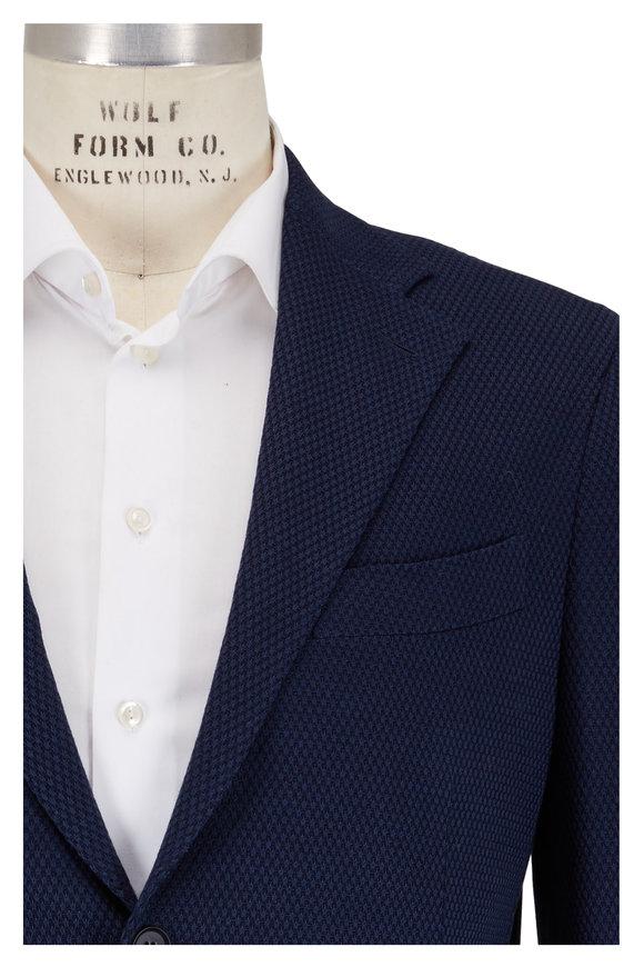 Eddy Monetti Navy Cotton Jersey Knit Sportcoat