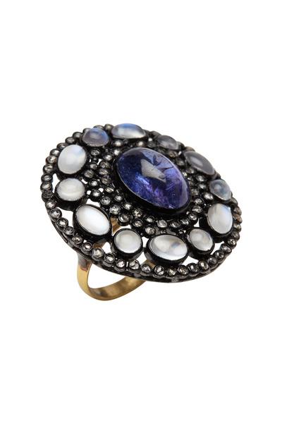 Loren Jewels - Gold & Silver Tanzanite Moonstone Diamond Ring