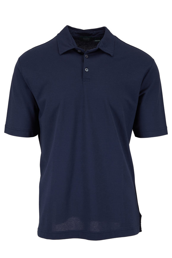 Zanone Navy Ice Cotton Short Sleeve Polo