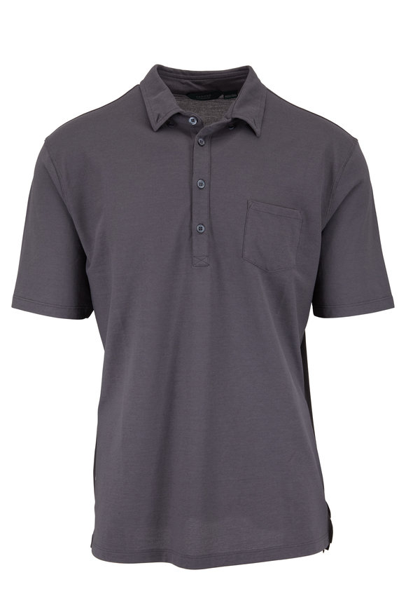 Zanone Charcoal Gray Ice Cotton Polo