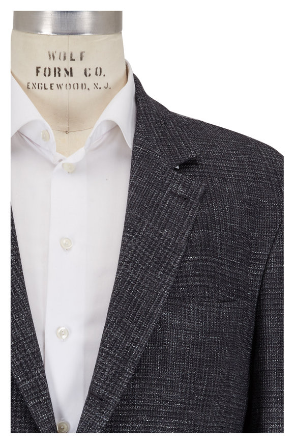 Brunello Cucinelli Charcoal Gray Wool, Linen & Silk Plaid Sportcoat