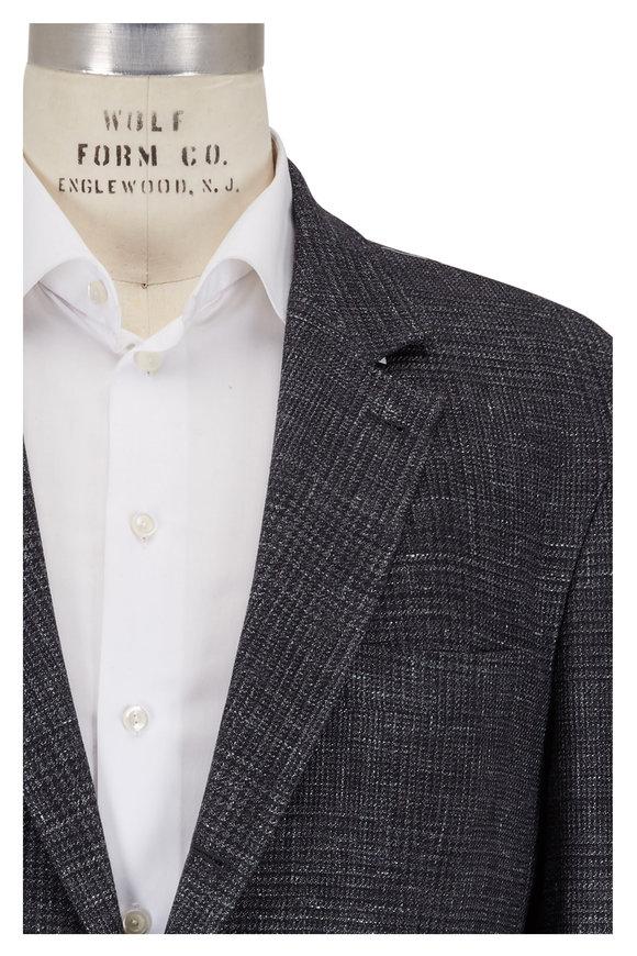 Brunello Cucinelli Charcoal Gray Wool, Linen & Silk Plaid Sportcoat