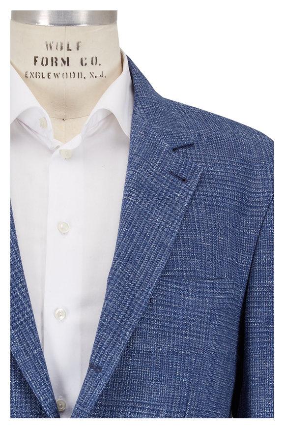 Brunello Cucinelli Denim Blue Wool, Linen & Silk Plaid Sportcoat
