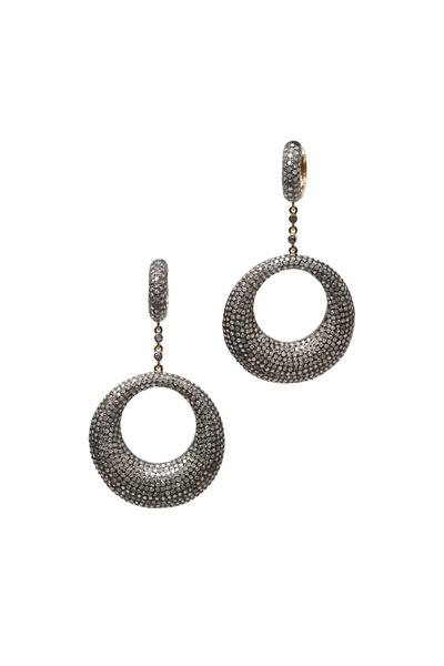 Loren Jewels - Gold & Silver Pavé Diamond Dangle Earrings