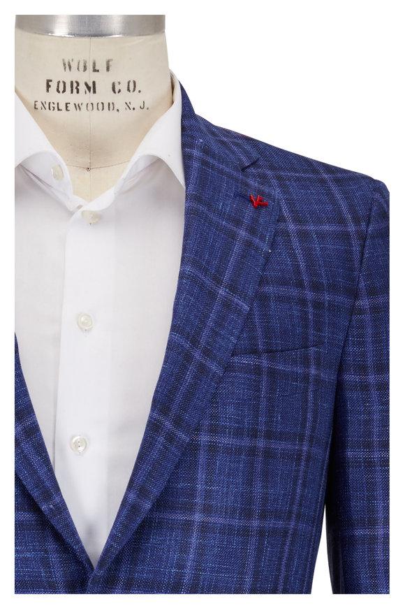 Isaia Blue Wool, Silk & Linen Windowpane Sportcoat