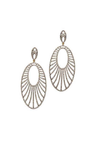 Loren Jewels - Gold & Silver Long Diamond Dangle Earrings