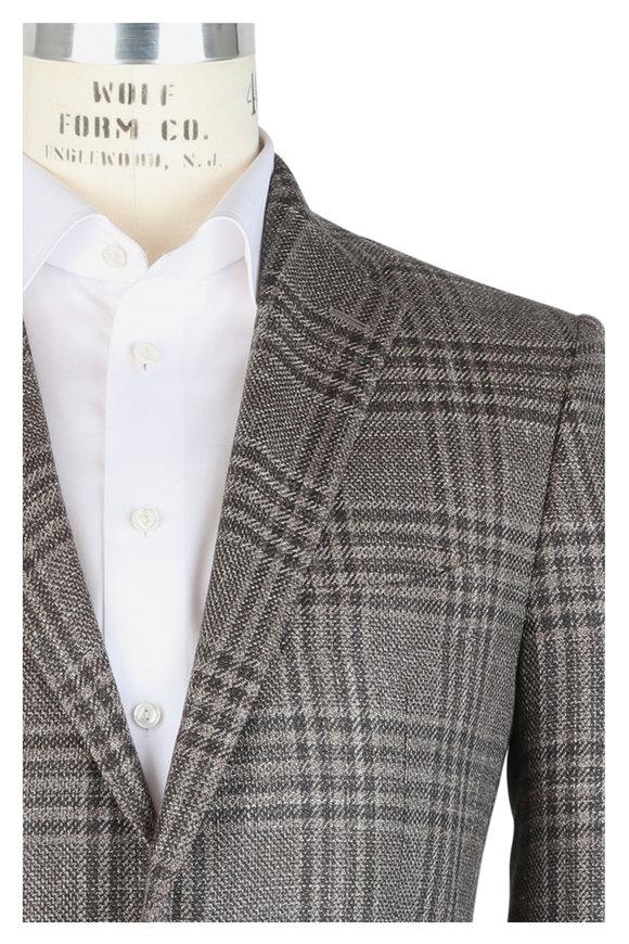 Mauro Blasi Brown Wool, Silk & Linen Plaid Sportcoat