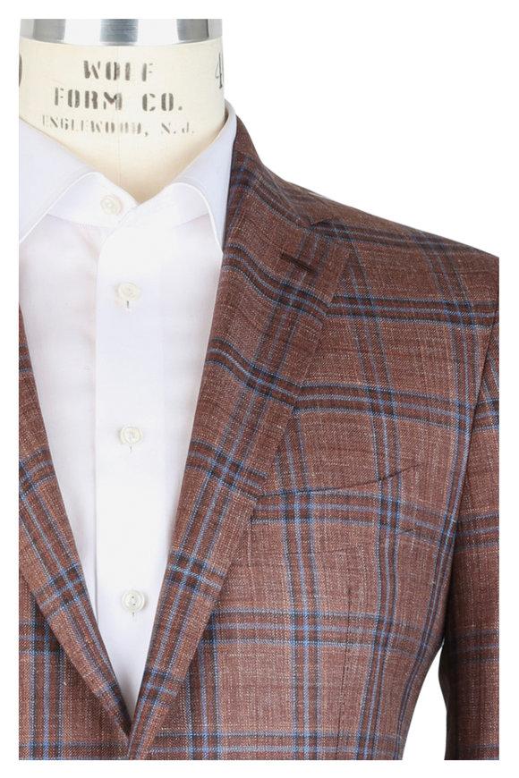 Mauro Blasi Rust Wool, Silk & Linen Windowpane Sportcoat