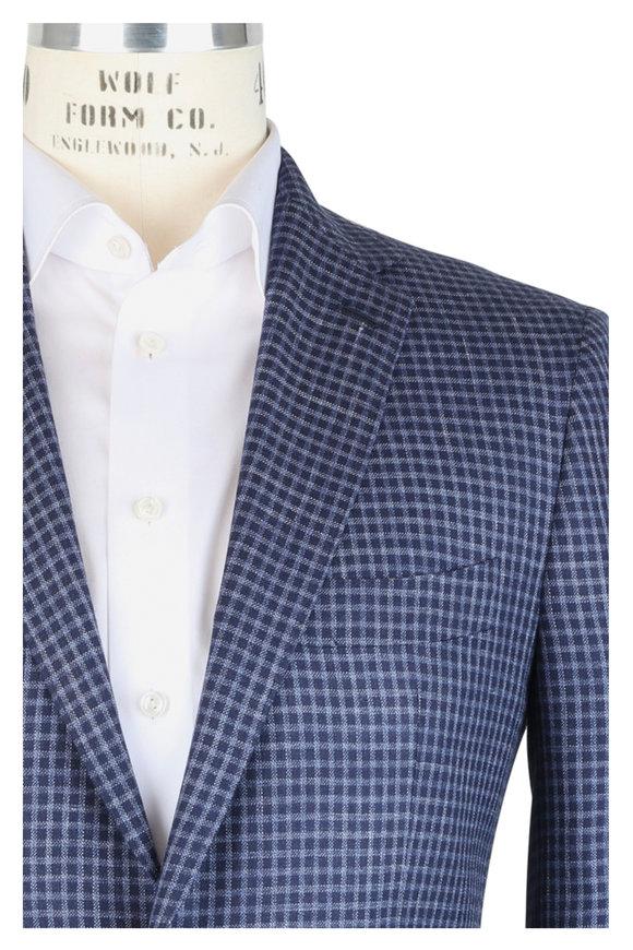 Mauro Blasi Navy Blue Wool, Silk & Linen Check Sportcoat