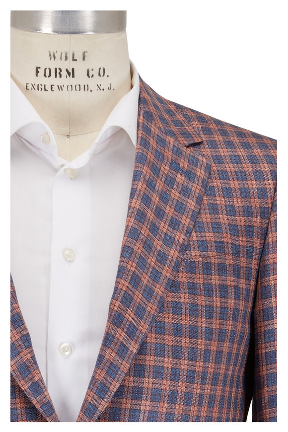 Canali Any Berry Wool, Silk, & Linen Check Sportcoat