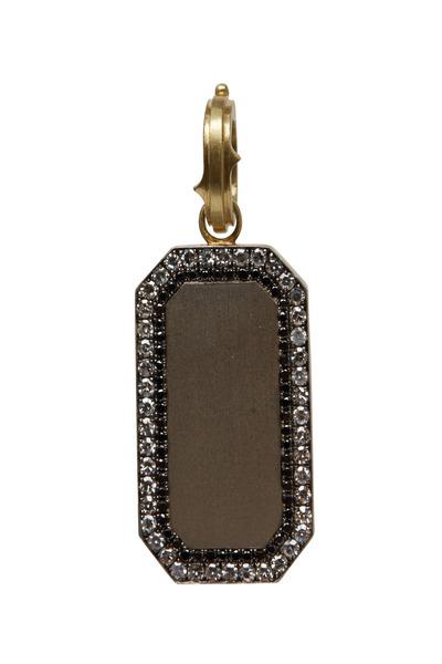 Sylva & Cie - Gold Black & White Diamond Signet Pendant