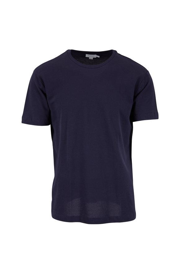 Sunspel Navy Cotton Piquè T-Shirt