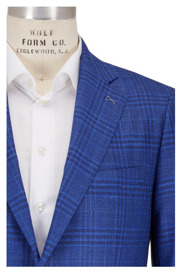 Atelier Munro Navy Blue Wool Plaid Sportcoat