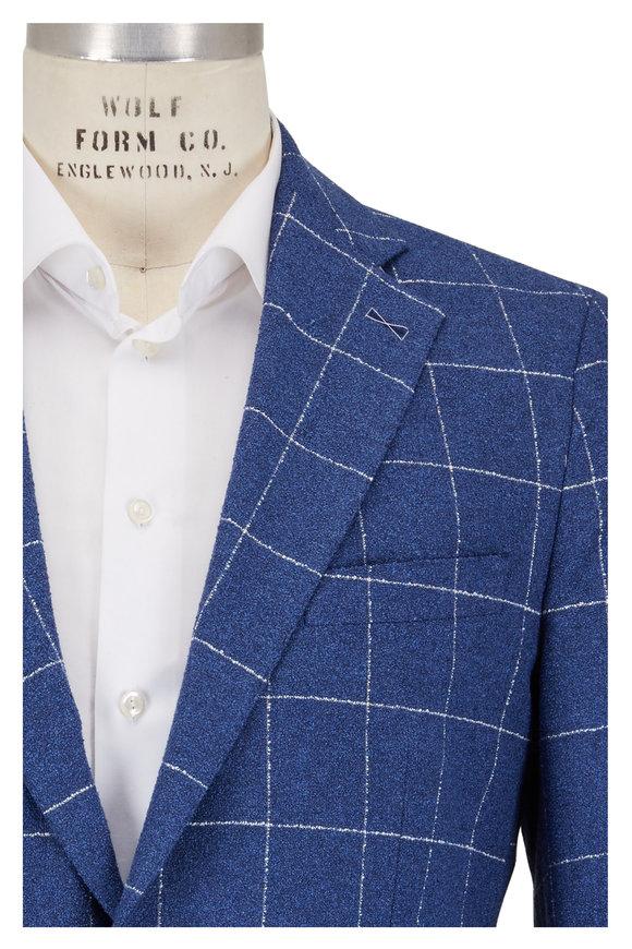 Atelier Munro Blue & White Cotton Windowpane Sportcoat