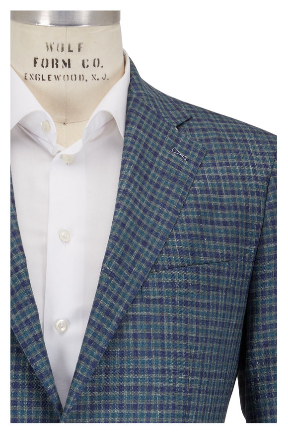 Atelier Munro Blue & Green Wool Check Sportcoat
