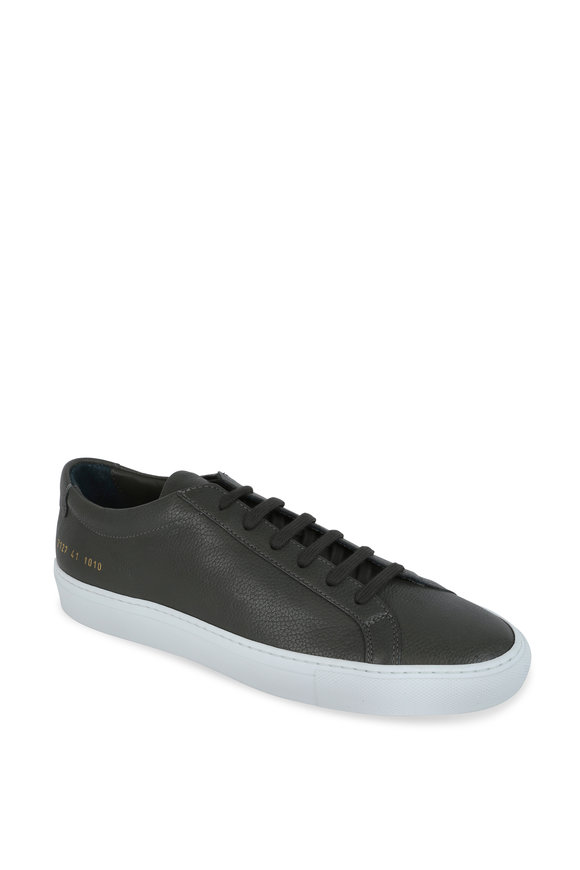 Common Projects Olive Green Leather Low-Top Sneaker