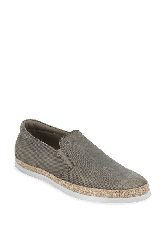 Tod's Gomma Gray Coated Leather Espadrille Sneaker
