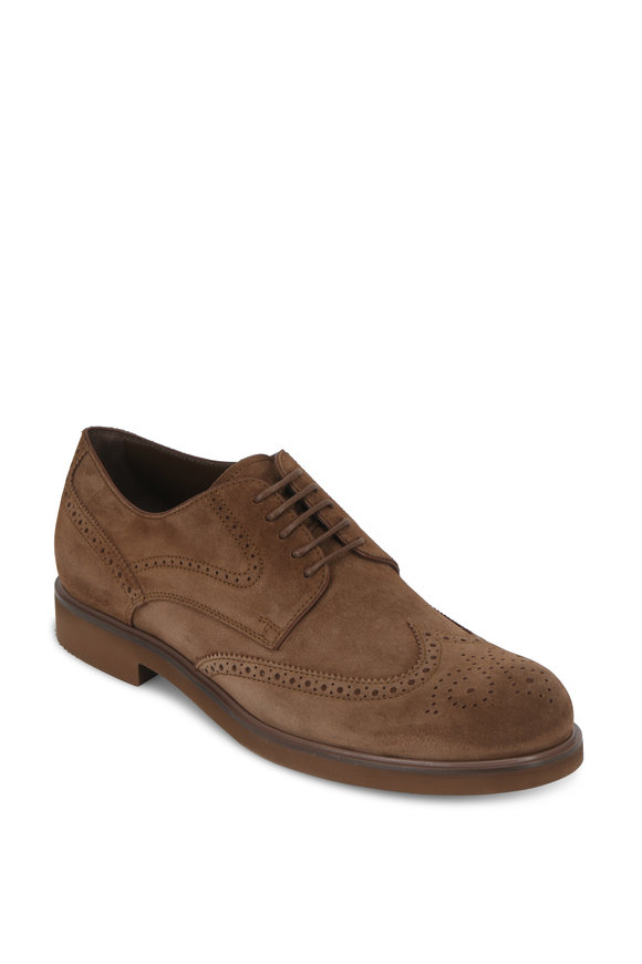Tod's Gomma Tobacco Suede Wingtip Derby Shoe
