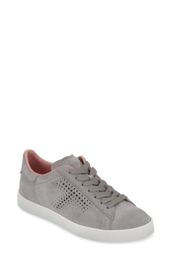 Tod's Cassetta Gray Suede Pink Lined Sneaker