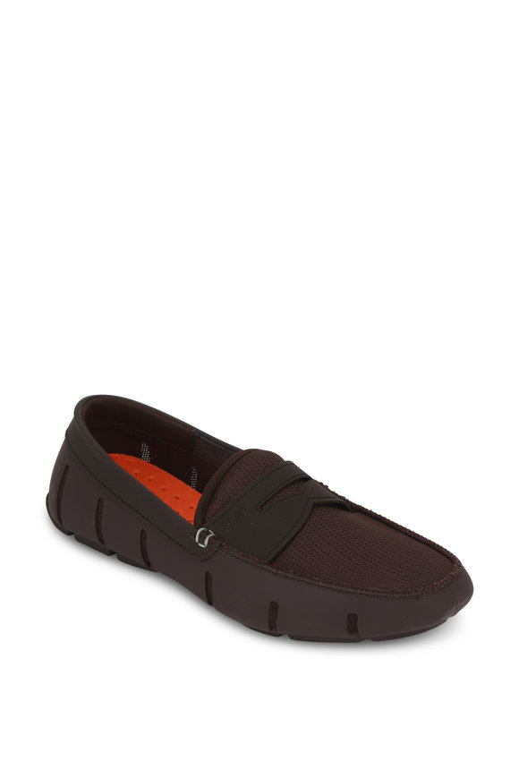 Swims Dark Brown Rubber & Mesh Loafers