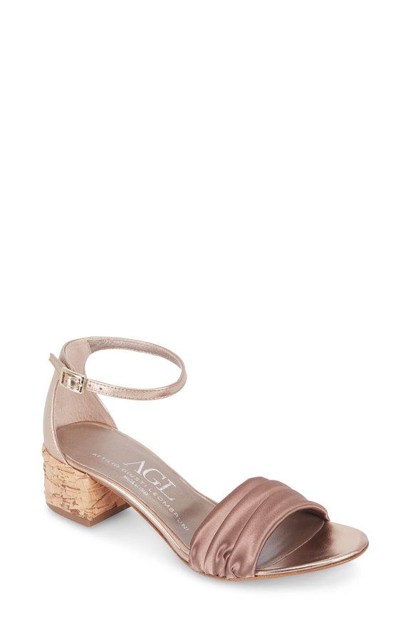AGL Pale Beige Satin Cork Heel Sandal, 40mm