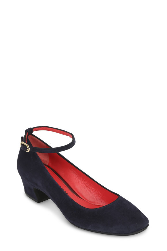 Pas de Rouge Eloe Navy Blue Suede Ankle Strap Pump, 30mm