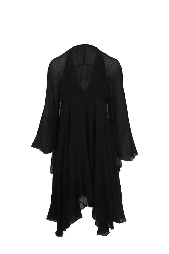 Chloé Black Crinkle Silk Cape Swing Dress