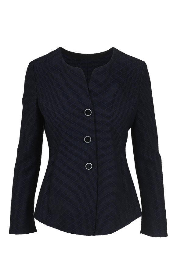 Emporio Armani Blue & Black Jacquard Jacket