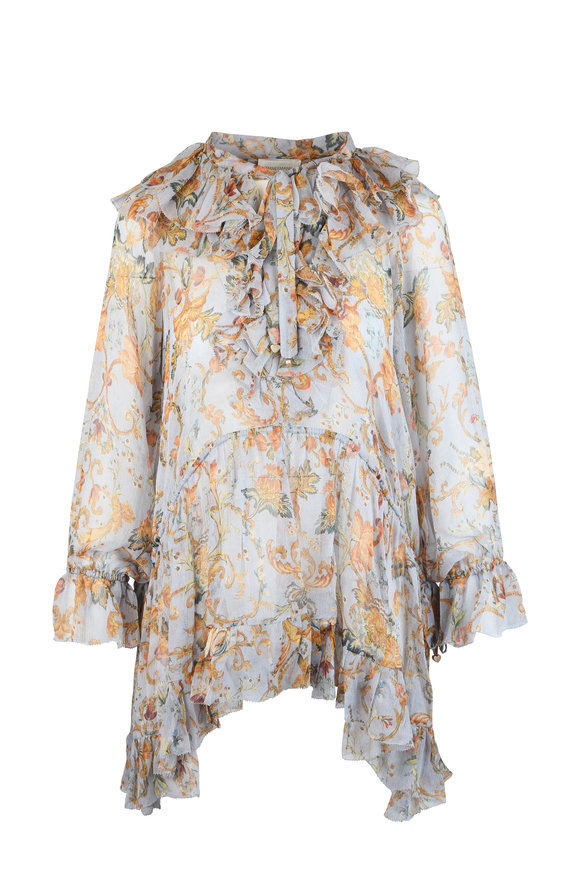 Zimmermann Painted Heart Gray Silk Floral Ruffle Blouse