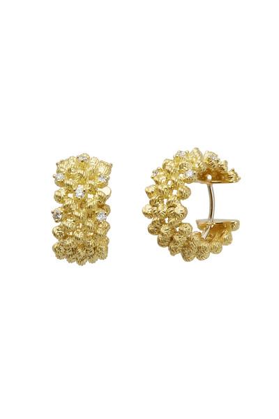 Paul Morelli - Yellow Gold Macrame Sprinkled Diamond Hoops
