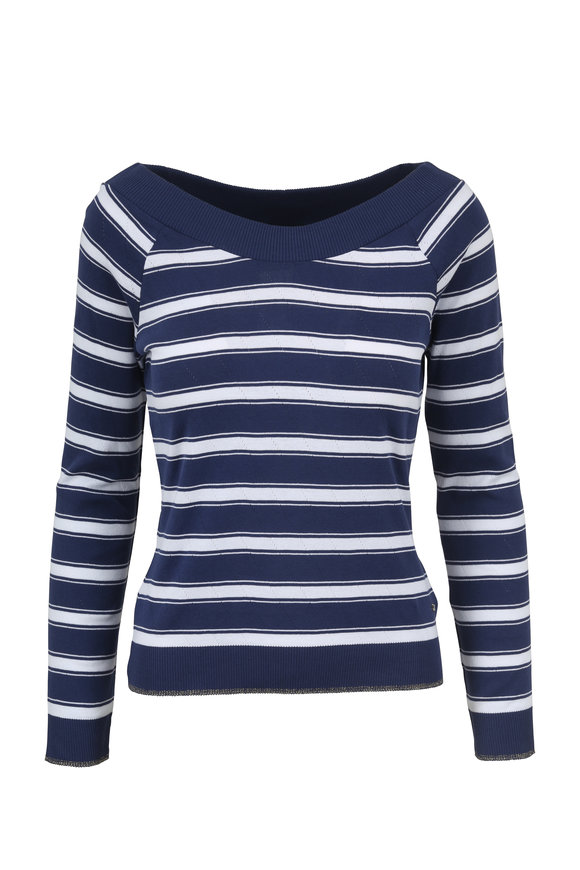 Escada Esophines Open Miscellaneous Striped Sweater