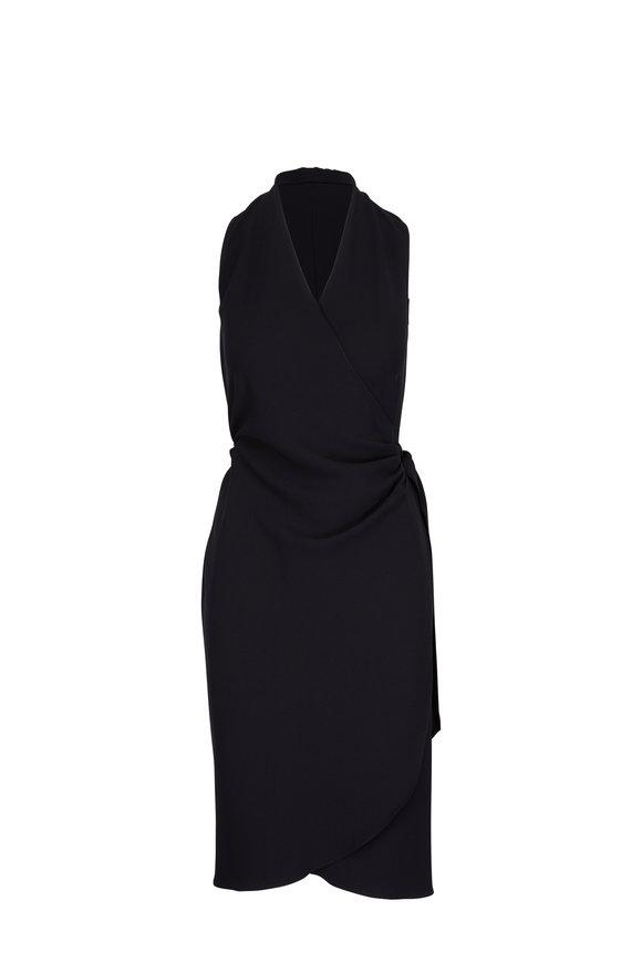 Peter Cohen Black Crêpe Wrap Dress