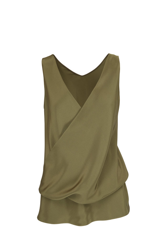 Olive Green Silk Sleeveless Wrap Blouse