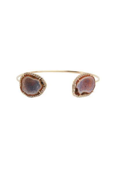 Kimberly McDonald - Rose Gold Neutral Geode Diamond Cuff Bracelet