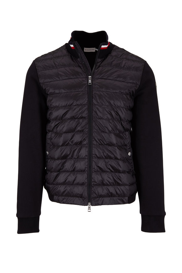 Moncler Maglia Black Mixed Media Cardigan Jacket