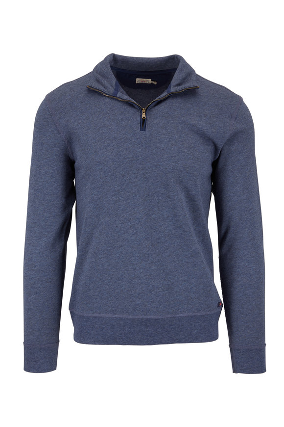 Faherty Brand Navy Blue French Terry Quarter-Zip Pullover
