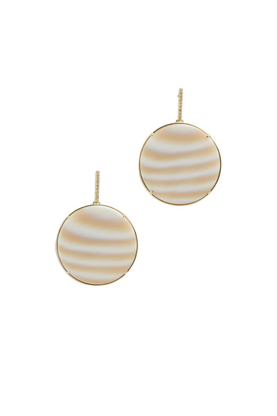 Kimberly McDonald - Yellow Gold Striped Chalcedony Diamond Earrings