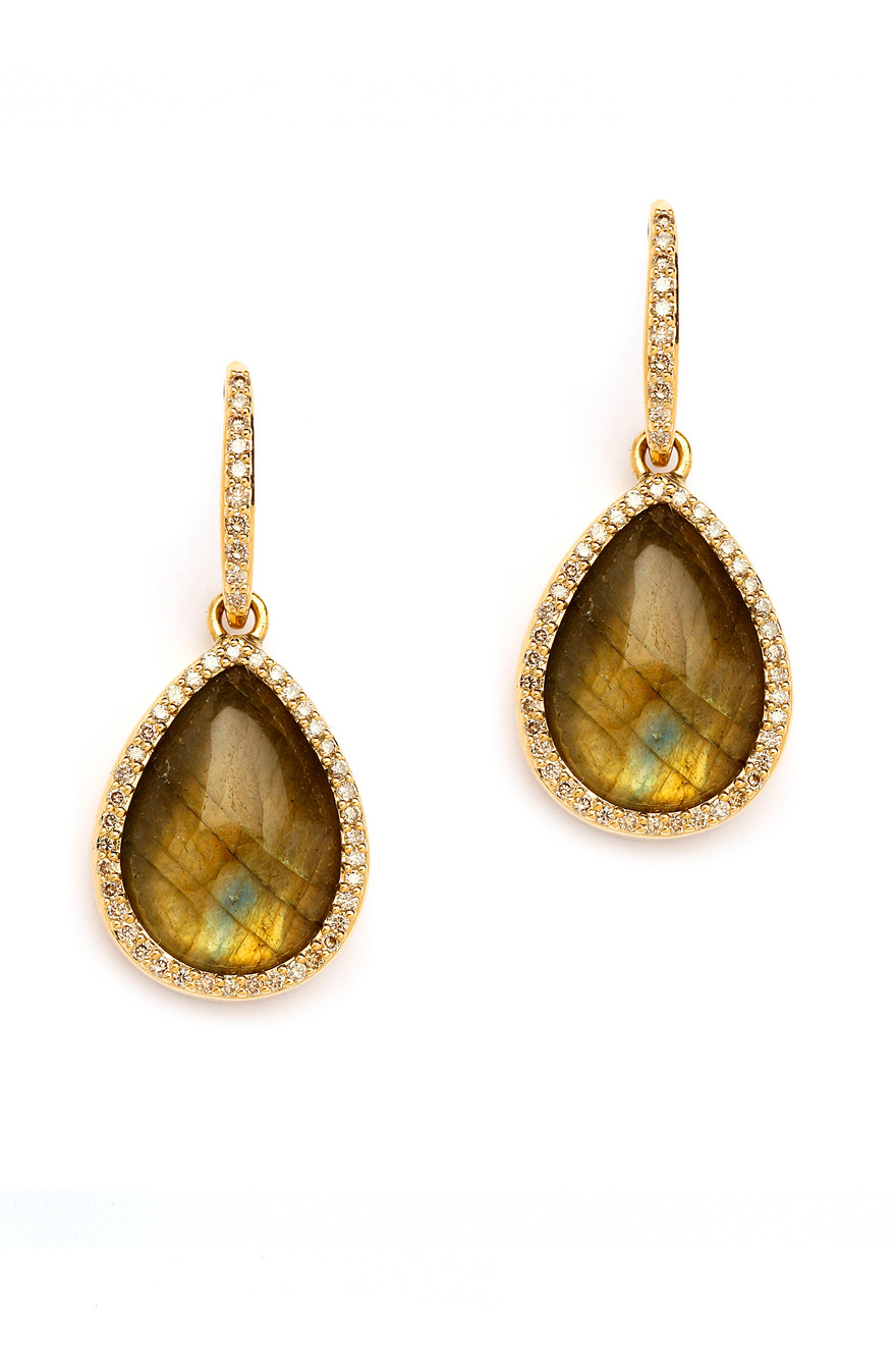 18K Gold Labradorite & Diamond Drop Earrings
