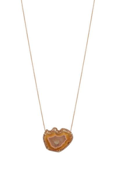 Kimberly McDonald - Rose Gold Translucent Agate Diamond Pendant