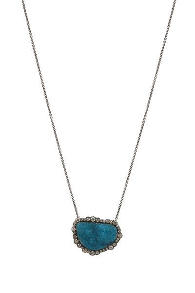 Kimberly McDonald - Gold Chrysocolla Diamond Pendant Necklace