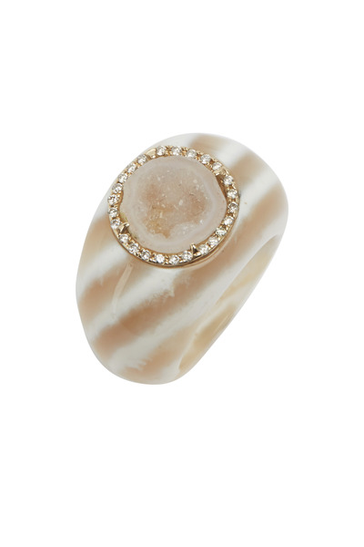 Kimberly McDonald - White Gold Chalcedony Dome Cocktail Ring