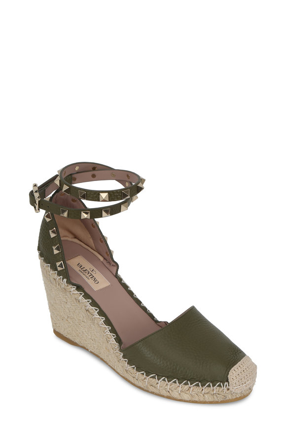 Valentino Army Green Leather Double-Strap Espadrille, 70mm